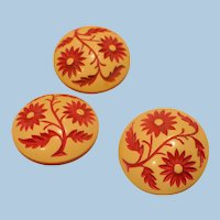 Celluloid  Floral Buttons