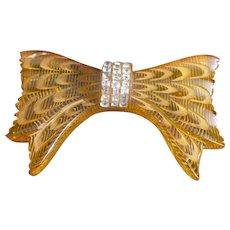 Bakelite Rhinestone Bow Pin