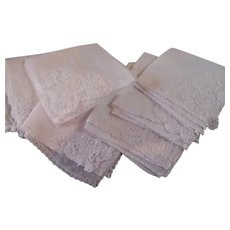 Six Small Linen Lace Handkerchiefs