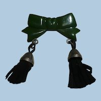Bakelite Bow with Tassels Pin