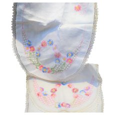 Pair Hand Embroidered Dresser Scarves or Runners