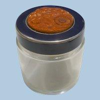 Bakelite Glass Vanity Jar