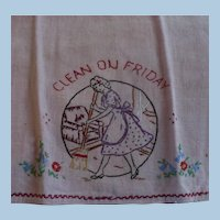 Hand Embroidered Friday Towel