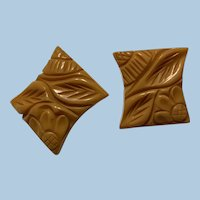 Carved Floral Bakelite Earrings