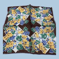 1940s Fruit Grapes Handkerchief