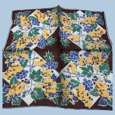 1940s Fruit Grapes Handkerchief