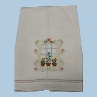 Appliqué Embroidered Window with Flowers Guest Towel