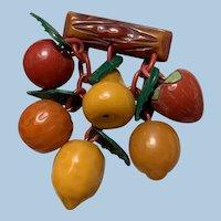 Bakelite 6 Fruit Pin
