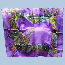 Purple Floral Silk Scarf