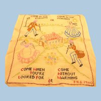 Hand Embroidered Friendship Welcome Sampler