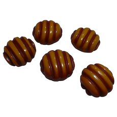 Five Overdye Bakelite Buttons