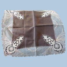 Unusual Brown Lace Handkerchief