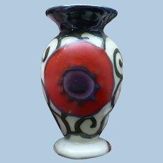 Small Raised Paint Czech Vase