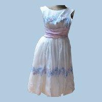 1950s White Organdy Dress