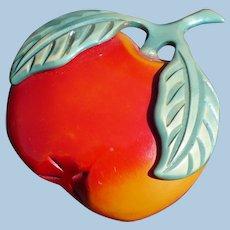 Bakelite Overdye Apple Pin