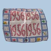 1956 Calendar Handkerchief