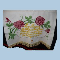 Unusual Hand Embroidered Rosary Towel