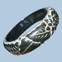 Black Carved Bakelite Bracelet Leaves Flower