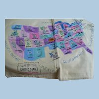 Hand Embroidered Applique  USA Map