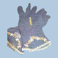 Navy Crochet Flower Gloves