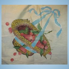 Straw Hat with Cherries Hand  Embroidered Piece