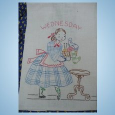 Wednesday Hand Embroidered Towel