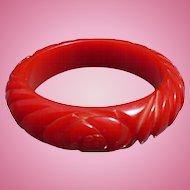 Red Carved Bakelite Bracelet