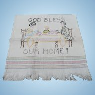 Embroidered God Bless our Home Towel