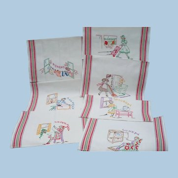Embroidered Days of Week Towels