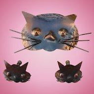 Copper Cat Pin & Earrings