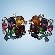 Multicolor Rhinestore Earrings Sterling