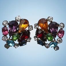 Multicolor Rhinestore Earrings Sterling