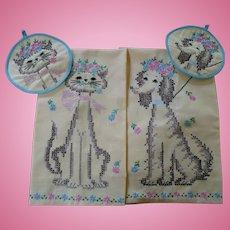 Cat Dog Embroidered Towel & Pot Holder Set
