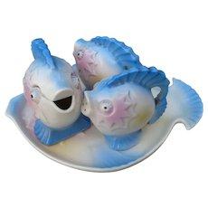 Fish Ceramic Condiment Set Japan