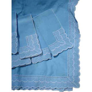 Linen Embroidered Tablecloth & Napkins