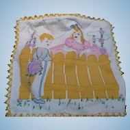 Embroidered Boy & Girl at Fence Pillow cover