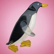 Lucite Penguin Pin