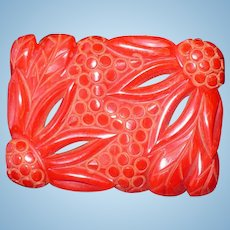 Deco Floral Bakelite Pin