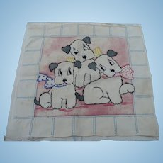Embroidered Three Dogs Pillow Top