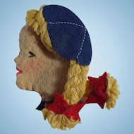 Blue Bird Girl Felt Pin