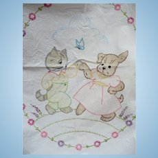Dancing Dog & Cat Childs Crib Sheet