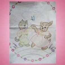 Dancing Dog & Cat Childs Crib Sheet