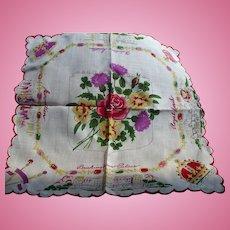 England Coronation Handkerchief Queen  Elizabeth