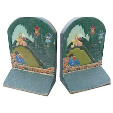 Carved Wood Asian Theme Bookends