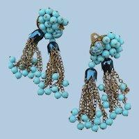 Vintage Turquoise Tassel Earrings