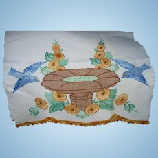 Bluebirds Embroidered Towel