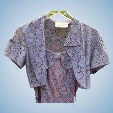 Purple Lace Dress with Shrug by Ellen Kaye