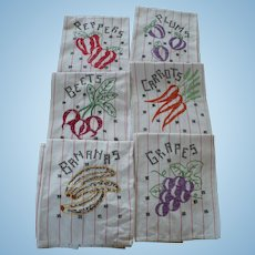 Embroidered Fruit Towels