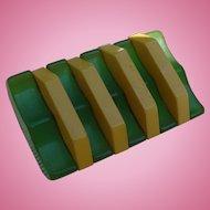 Laminate Bakelite Green Cream Button