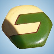 Green Cream Bakelite Button